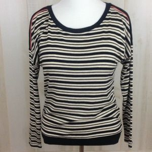 Joan Vass Black Ivory Striped Raglan Knit Top - S